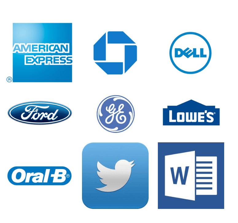 blauwe logo's