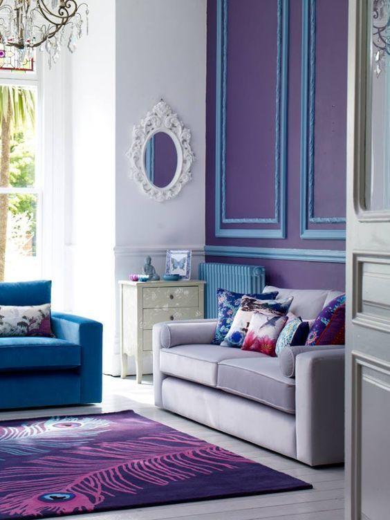Tonos azules en una sala de estar.