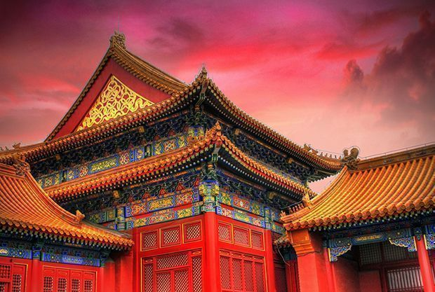Templo chino de color rojo