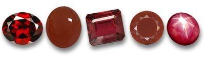 Algunas gemas rojas
